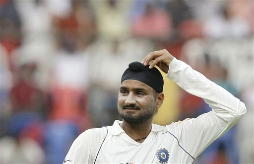 Harbhajan Singh gestures on the fourth day of the first Test between India and Australia in Bangalore.