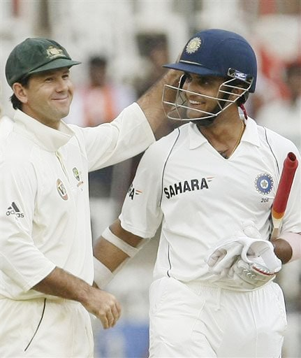 Australian captain Ricky Ponting greets Sourav Ganguly after their first Test ended in draw in Bangalore.