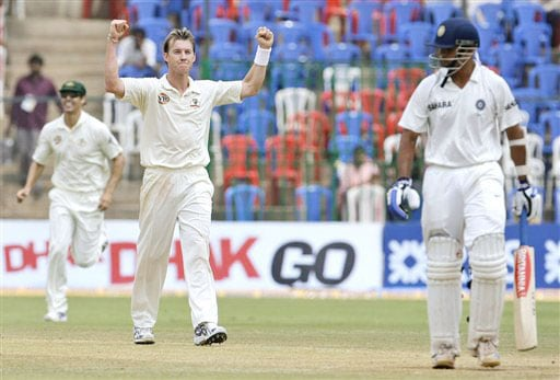 Brett Lee gestures after dismissing Rahul Dravid on the final day of the first Test match between India and Australia in Bangalore.
