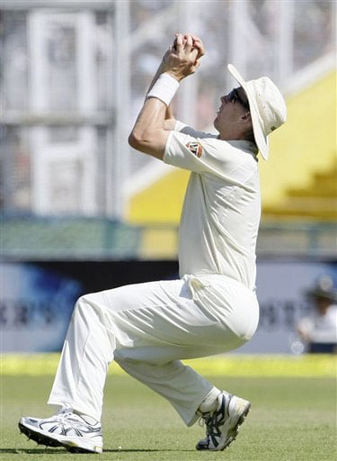 Brett Lee takes the catch to dismiss Sourav Ganguly on the second day of the Mohali Test between India and Australia.