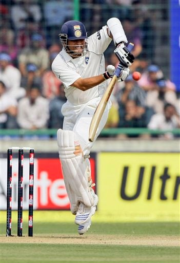 Sachin Tendulkar bats during the first day of the third cricket Test match between India and Australia in New Delhi on Wednesday, October, 2008.
