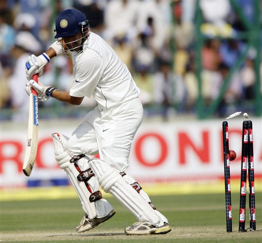 Gautam Gambhir is bowled out on the second day of the third Test between India and Australia in New Delhi.