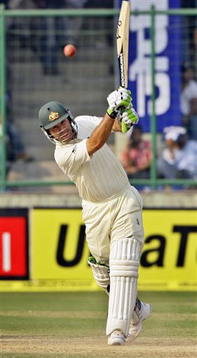 Australian cricket captain Ricky Ponting bats on the third day of the third cricket Test match between India and Australia in New Delhi.