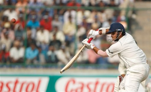 Sourav Ganguly plays on the off-side on the final day of the third Test cricket match between India and Australia, in New Delhi on Sunday, Nov. 2, 2008.