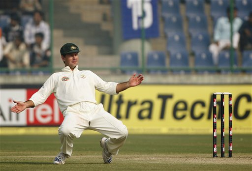 Ricky Ponting jokes with his teammates on the final day of the third Test cricket match between India and Australia in New Delhi on Sunday, Nov. 2, 2008.