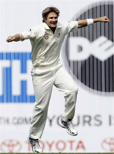 Shane Watson reacts after dismissing Rahul Dravid during the fourth day of the final Test between India and Australia in Nagpur.