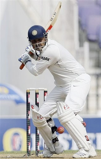 Virender Sehwag bats during the fourth day of the final Test between India and Australia in Nagpur.