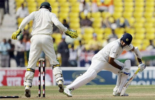 VVS Laxman looks back to see himself clean-bowled as Australian wicketkeeper Brad Haddin reacts during the fourth day of the final Test between India and Australia in Nagpur.
