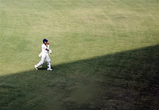 Sourav Ganguly returns after being dismissed during the fourth day of the final Test between India and Australia in Nagpur. Ganguly played his last Test innings on Sunday.