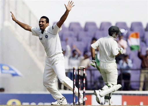 Zaheer Khan celebrates as Ricky Ponting is run-out on the fifth day of the final Test between India and Australia in Nagpur.