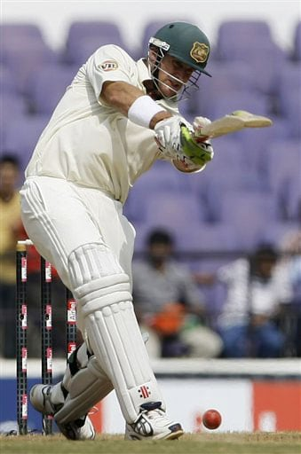 Matthew Hayden plays a shot on the fifth day of the final Test against India in Nagpur.