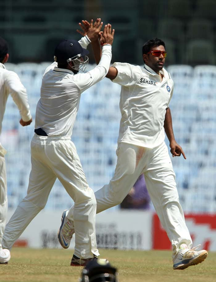 It was R Ashwin who took Watson's wicket, bat-pad and lobbing a simple catch to Virender Sehwag. Dhoni opened with spin in the second innings and the trend continued with majority of the overs being bowled by Ashwin, Harbhajan and Jadeja. It looks to be a crumbling wicket and that is how India will be aiming to go. (Photo credit: BCCI)