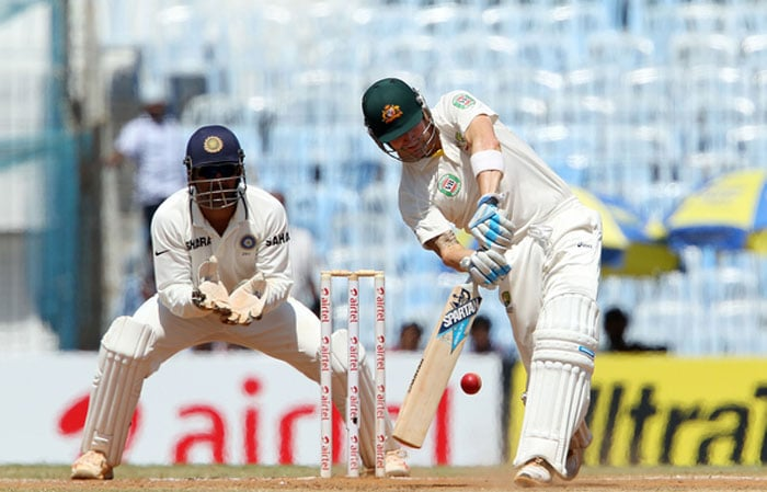 In-form skipper Michael Clarke and Warner tried to stem the Indian spinners' charge but were not overly successful. On a turning wicket, the defence was never going to work but even attack did not prove worthy. (Photo credit: BCCI)