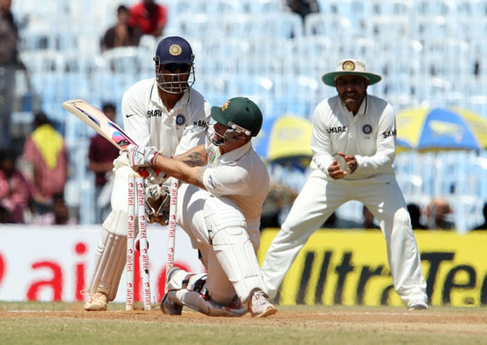 Matthew Wade followed Warner into the dressing-room soon after, bowled by Harbhajan for his second wicket in the innings. (Photo credit: BCCI)