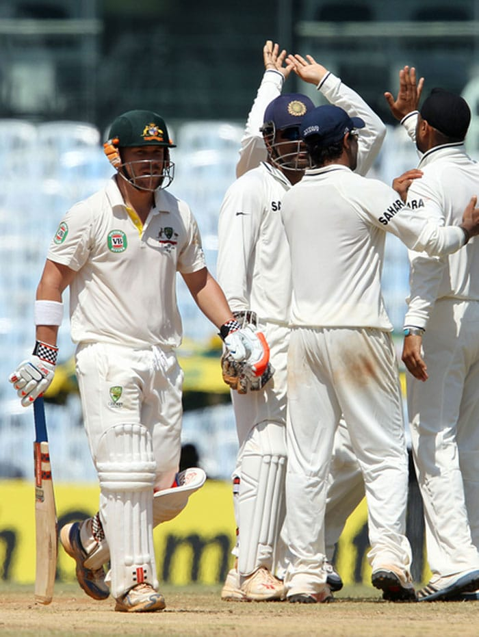 David Warner looked to play aggressive but was unsuccessful. His pain-staking knock of 23 from 61 balls finally came to an end when Harbhajan landed one on the off stump and it went straight on. The Aussie looked disappointed but with no DRS around it was difficult to judge. (Photo credit: BCCI)
