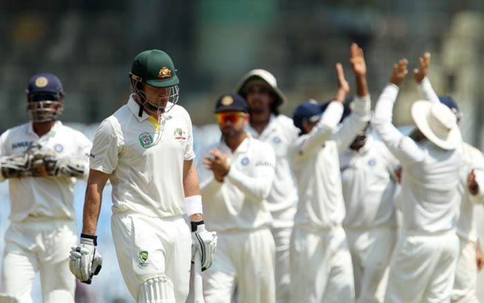 Australia had a slow and nervy start to their second innings losing Shane Watson for 17 just before lunch on Day 4 of the first Test after India batted their way to dominance. Shane Watson, who came out to bat in place of an ill David Warner, was beginning to look threatening. (Photo credit: BCCI)