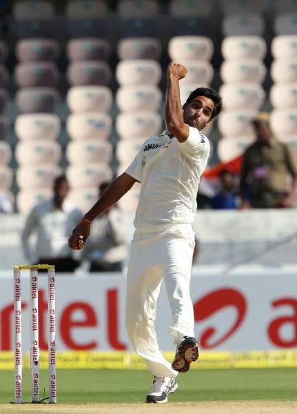 Bhuvneshwar Kumar could not get a wicket in his 13 overs on debut in Chennai. In Hyderabad though, the Uttar Pradesh lad became the talk of the town as he scalped three Australian wickets before lunch to give the home side massive advantage on Day 1. (Photo credit: BCCI)