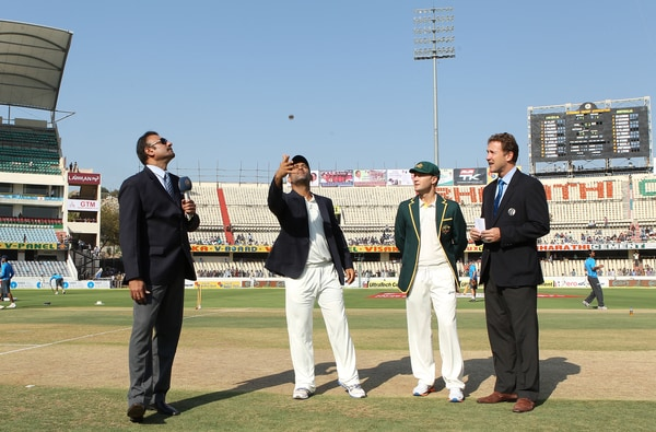 Put through another searching examination by India's bowling unit, pacers and spinners alike, Australia had very few answers on an action-packed opening day of the second Test on Saturday. They declared at 237/9 in their first innings to surprise India.<br><br> Michael Clarke called right yet again and chose to bat against India in the second Test in Hyderabad. Mahendra Singh Dhoni looked a bit subdued having lost the toss again. (Photo credit: BCCI)