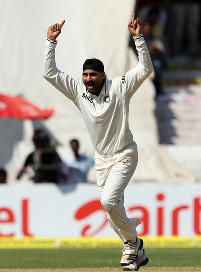 While Clarke and Wade dominated proceedings before tea, Indian spinners came into their own after the interval. Harbhajan Singh took the Aussie wicket-keeper first up as Bhuvneshwar took a brilliant diving catch at point. India never stopped after that. (Photo credit: BCCI)