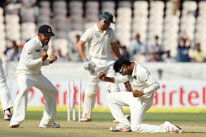 Ravindra Jadeja had begun to look menacing and got his rewards soon after. He removed the dangerous Henriques, debutant Glenn Maxwell and skipper Clarke to give India the advantage on Day 1. (Photo credit: BCCI)