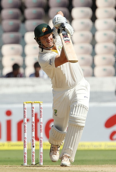 Shane Watson, meanwhile, on the other end had started to open up and looked dangerous yet again. Phil Hughes, who had a disappointing first Test, too looked steady as R Ashwin was introduced early. (Photo credit: BCCI)