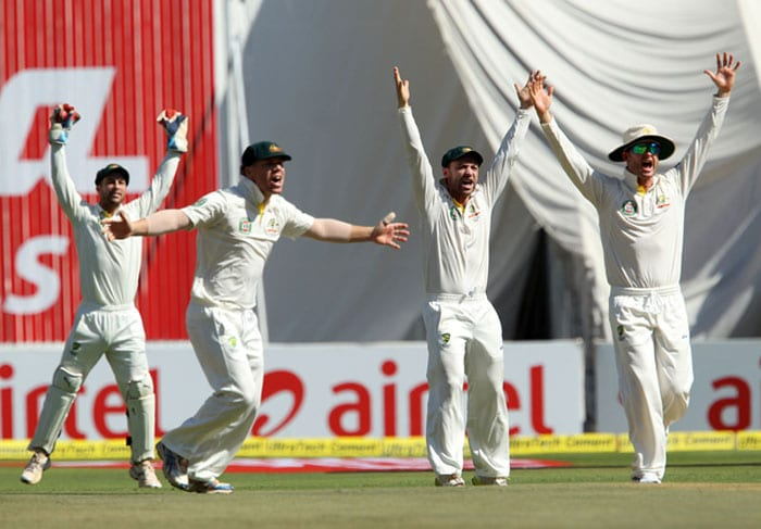 Australian keeper Matthew Wade and slip cordon appeal immediately as Sehwag edges one. Siddle seemed a bit doubtful about the edge. Umpire Kumar Dharamsena ruled the Indian opener out though as the ball had clearly deflected off his bat as shown in the subsequent replays. (Photo credit: BCCI)