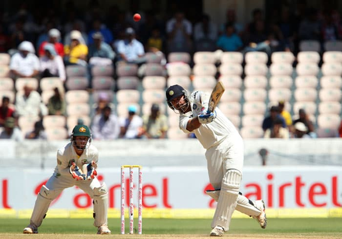 Murali Vijay, who did not exude any confidence at all initially, looked to come into his own as Xavier Doherty was introduced. A few 'dance down the tracks' and positive shots were on view as India crawled to 54/1 at lunch. (Photo credit: BCCI)