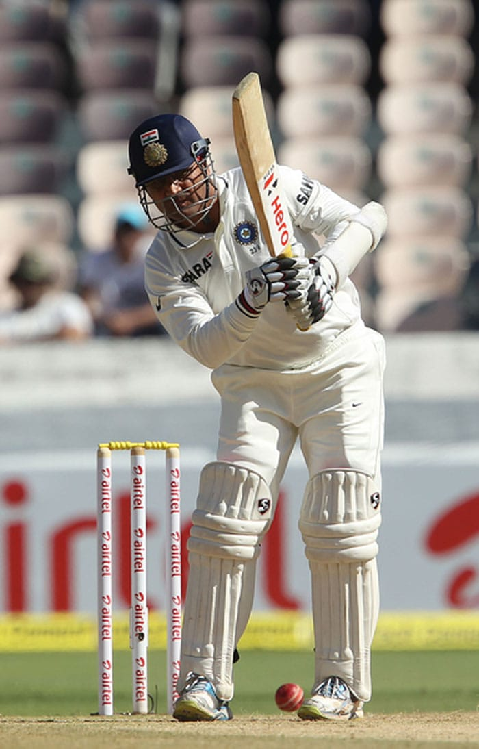 The hosts would have pinned high hopes on Sehwag, who has disappointed one and all with his form in the past 18 months or so. Starting in a circumspect manner, Sehwag (6) hanged his bat out to one going away from Siddle to disappoint again. (Photo credit: BCCI)