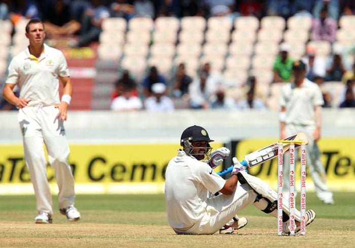 Australia would have harboured hopes of inflicting an Indian batting collapse after Sehwag's dismissal before lunch but Murali Vijay and Cheteshwar Pujara came in after the break much more assured and determined. Pattinson and Henriques bowled their hearts out but Indian batsmen were defiant. (Photo credit: BCCI)