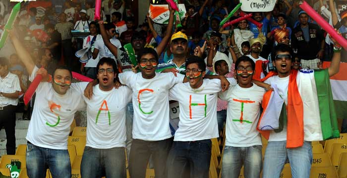 Indian cricket fans cheer prior to the India and Australia World Cup quarter final match. (AFP Photo)