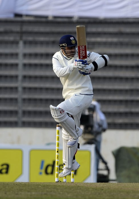 Virender Sehwag in action during the first day of the second Test at the Sher-e Bangla National Stadium in Dhaka. (AFP Photo)