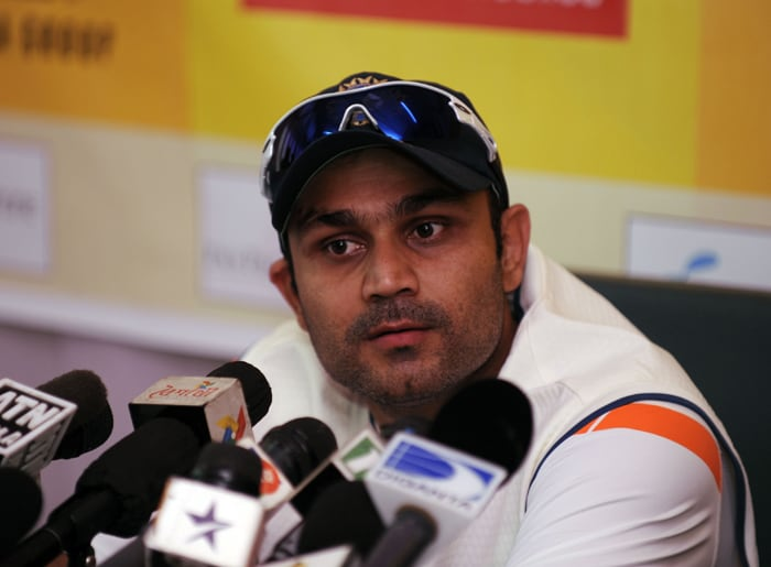 Virender Sehwag speaks at a press conference at Zohur Ahmed Chowdhury Stadium in Chittagong on January 16, 2009. India will play two test series against Bangladesh. (AFP PHOTO)