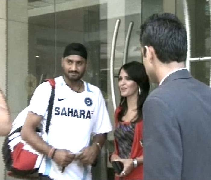 Off-spinner Harbhajan Singh is greeted by guests at the hotel after Team India arrived their post their victory.