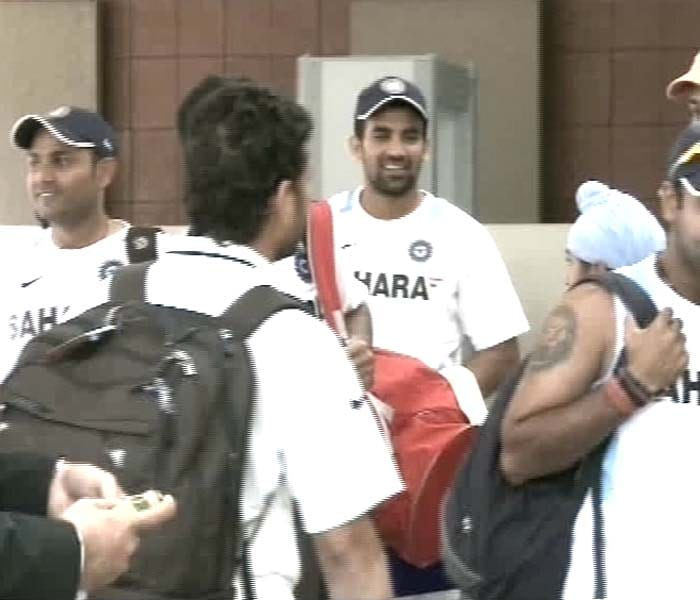 Zaheer Khan and Virender Sehwag are seen in a jovial mood at the team hotel.