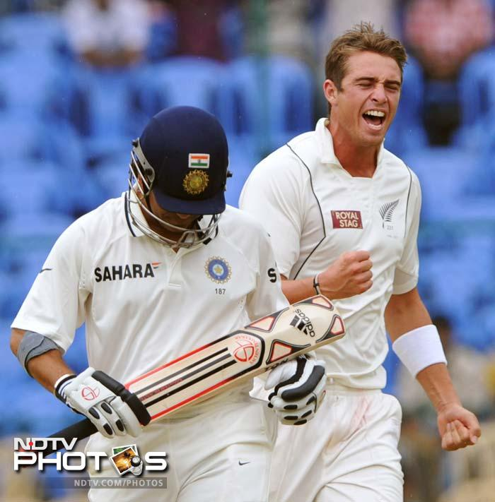 Tim Southee returned with 8 wickets from the match, along with the prized one of Sachin Tendulkar in the second innings.