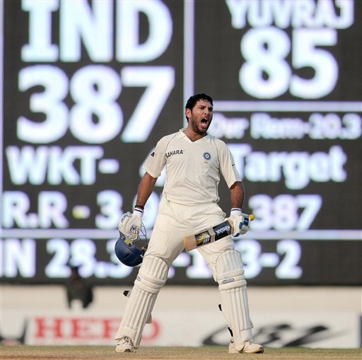 Yuvraj Singh celebrates after India won the match on the fifth day of the first Test match against in Chennai on Monday December 15, 2008. (AP Photo)