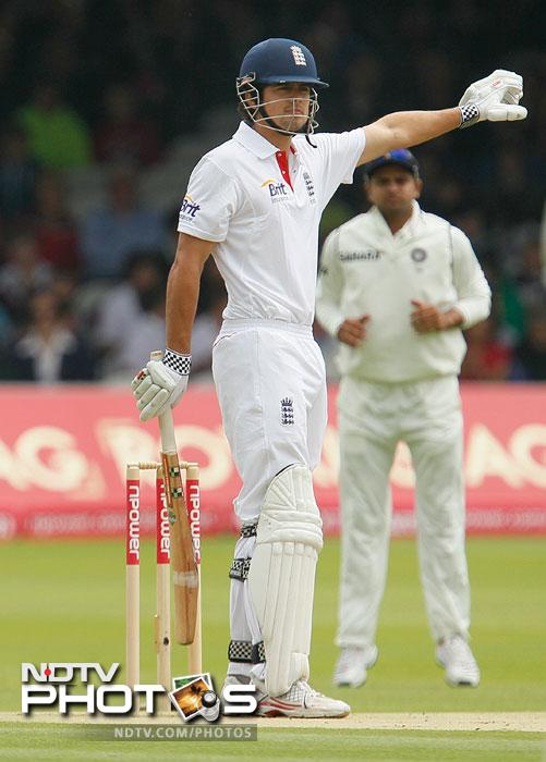 Alastair Cook gestures towards the sight screen as India field during the first day of the first Test at the Lord's Cricket ground in London. (AP Photo)