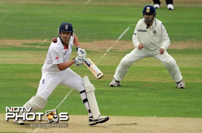 Jonathan Trott hits a ball from Ishant Sharma during the 1st day of the first Test match between India and England at the Lord's ground in London. (AP Photo)