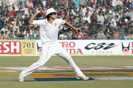 Alastair Cook fields the ball during fifth and final day of second Test between India and England in Mohali.