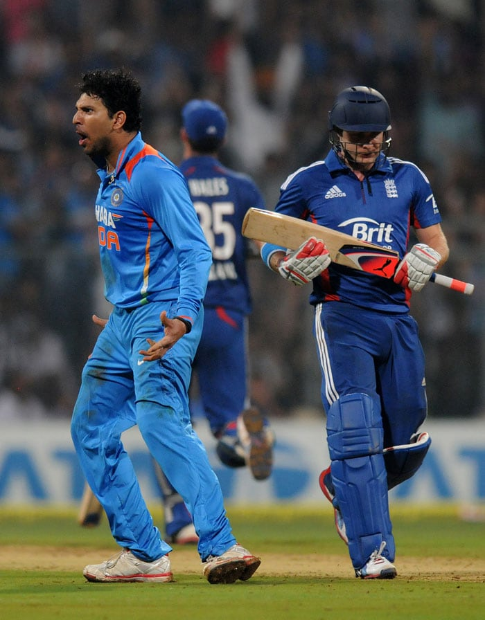 Yuvraj followed it up with Luke Wright's dismissal and then rounded up his fantastic series getting Alex Hales in his last over. He ended with figures of 3/17 and got India back into the game when it seemed destined to go the visitors' way. (Photo credit: BCCI)