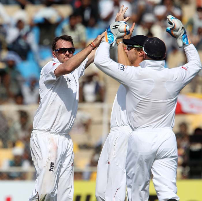 If England had something to cheer about, it was Graeme Swann's five-for. It seems that Swann will be the lone ranger throughout the tour should England decide not to play Monty Panesar. (Photo credit: BCCI)