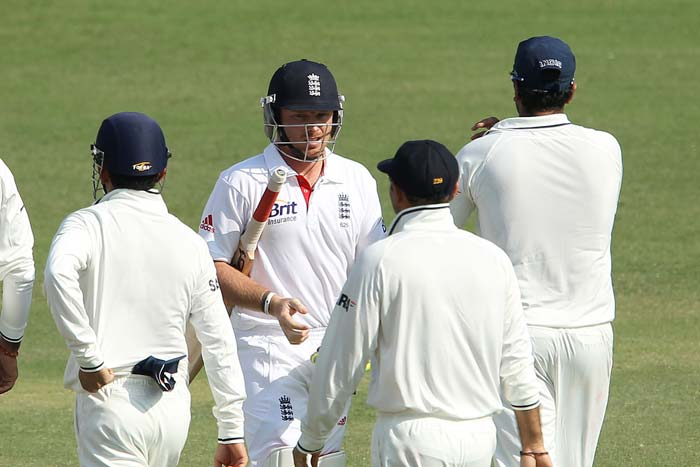 Even as the Indians were displaying great skills, English batsmen were ordinary to say the least in their first innings. Ian Bell got out the next ball that KP had been bowled by Ojha. It was an irresponsible and probably over-confident shot at the time. His record in India is dismal, with average of 18 or so in six Tests. (Photo credit: BCCI)