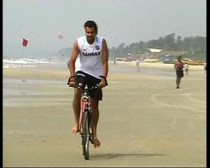 Rohit Sharma tried cycling on the beach after the final ODI in Margao was called off.