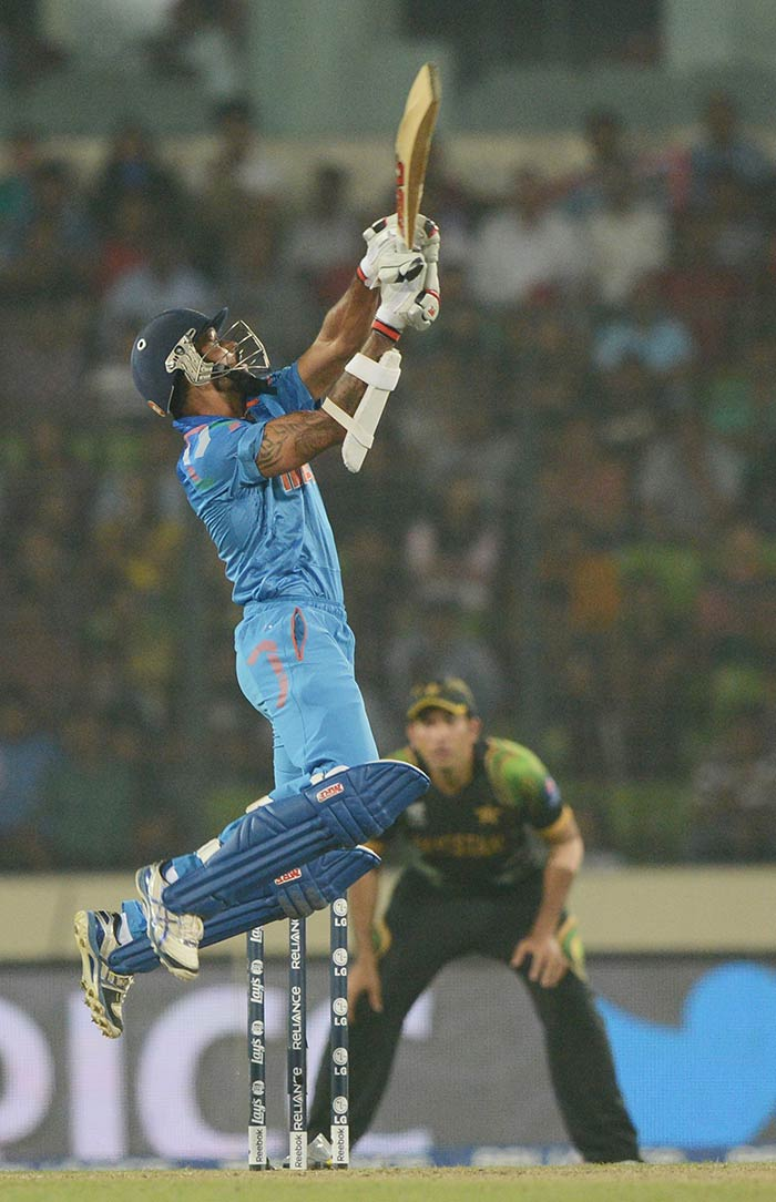 Dhawan scored 30 off 28 and looked in fine touch before falling to Umar Gul whom he had previously dispatched for several boundaries.