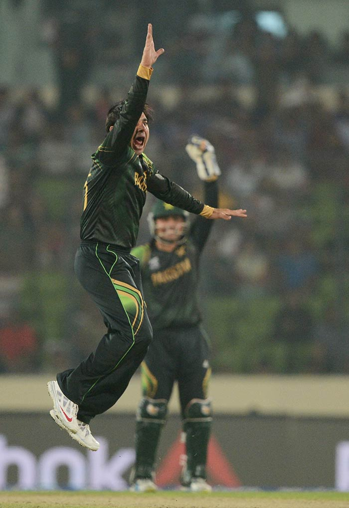 Saeed Ajmal gave a scare to India when he bowled tight line and got a few close calls off his bowling.