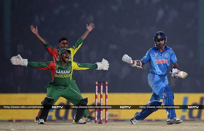 Kohli's innings was of even more significance as chasing 280, India had lost openers early. <br><br>Shikhar Dhawan (right) is seen here after being dismissed on 28.