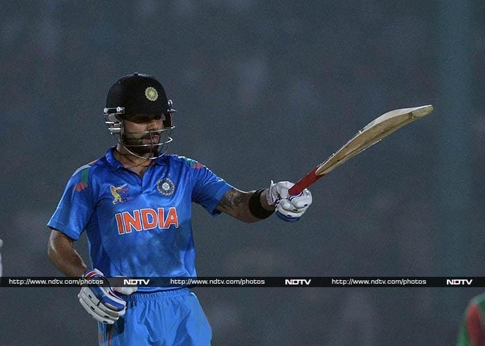 Kohli was the first of the two to complete a fifty and his knock - till that point, had six fours and a six.