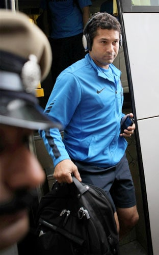 Sachin Tendulkar arrives for the team's fitness and conditioning camp, ahead of tri-series in Sri Lanka and Champions Trophy, in Bangalore. (PTI Photo)
