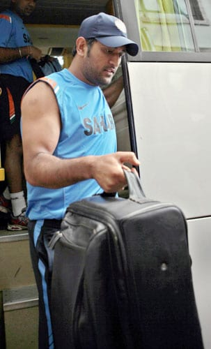 Mahendra Singh Dhoni arrives for the team's fitness and conditioning camp, ahead of tri-series in Sri Lanka and Champions Trophy, in Bangalore. (PTI Photo)