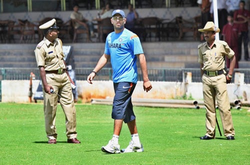 Yuvraj Singh on the first day of team's fitness and conditioning camp, ahead of tri-series in Sri Lanka and Champions Trophy, in Bangalore. (PTI Photo)
